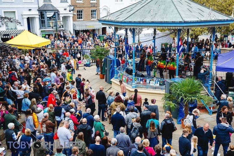 An outdoor concert on Horsham bandstand