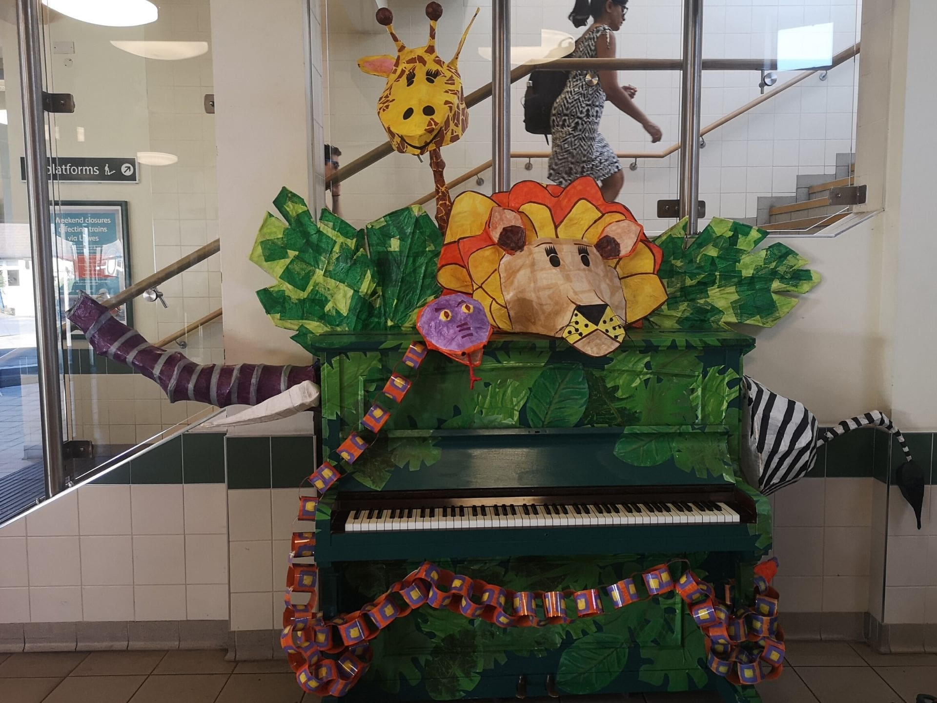 A wild animal-themed piano at Horsham station