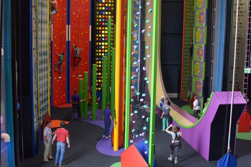 Colourful climbing walls and obstacles