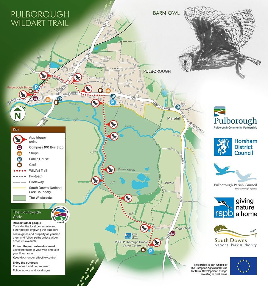 A map of Pulborough WildArt Trail