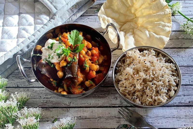Aubergine chickpea curry and coconut rice