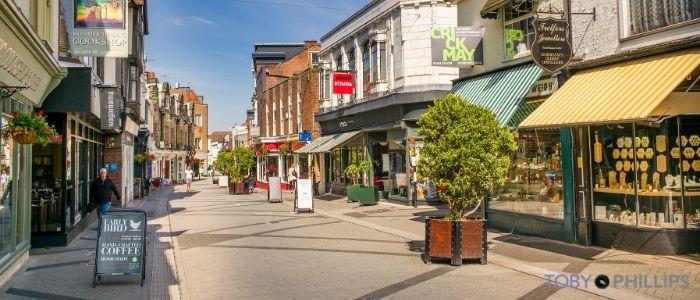 Horsham's West Street on a sunny morning