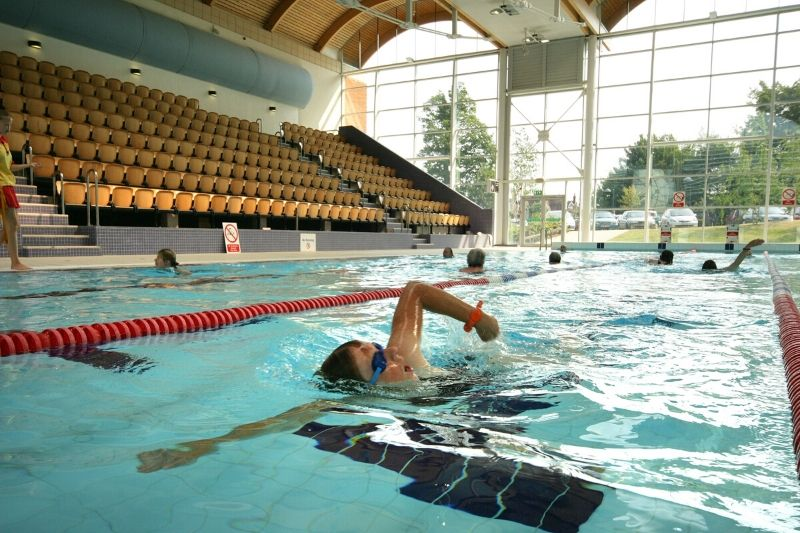 Person swimming in the 50 metre pool