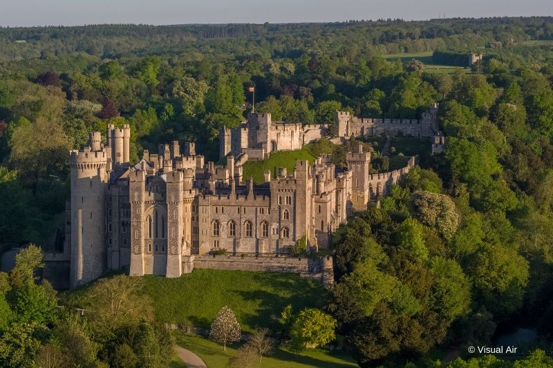 A view of Arundel castle from above